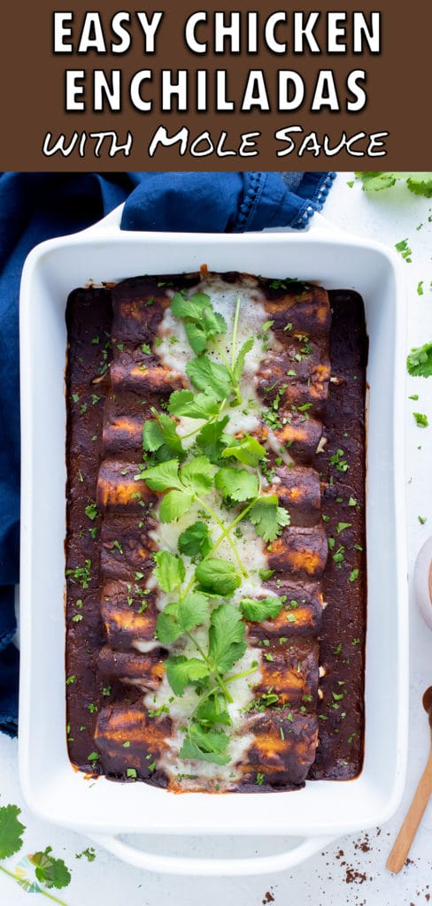 Chicken enchiladas smothered in mole sauce are shown in a casserole pan.