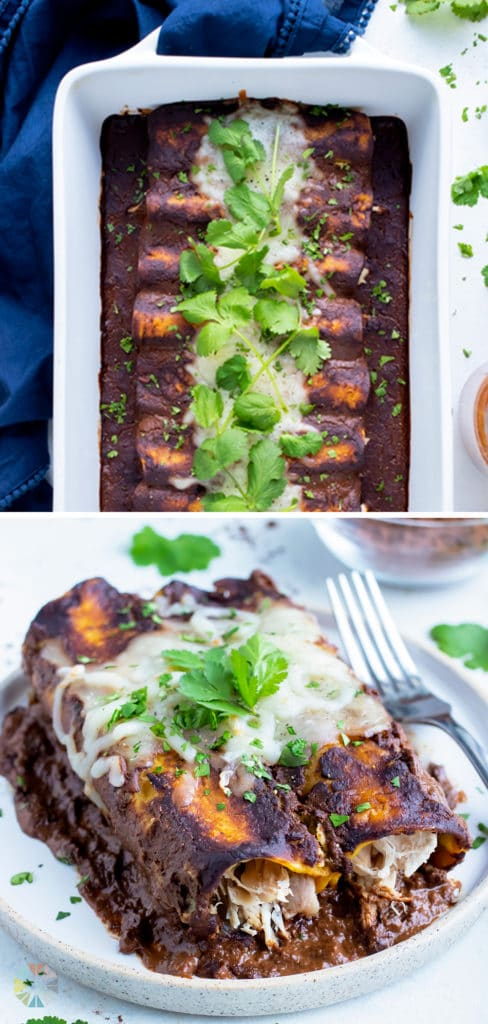 Chicken mole enchiladas are served on a white plate with a fork.