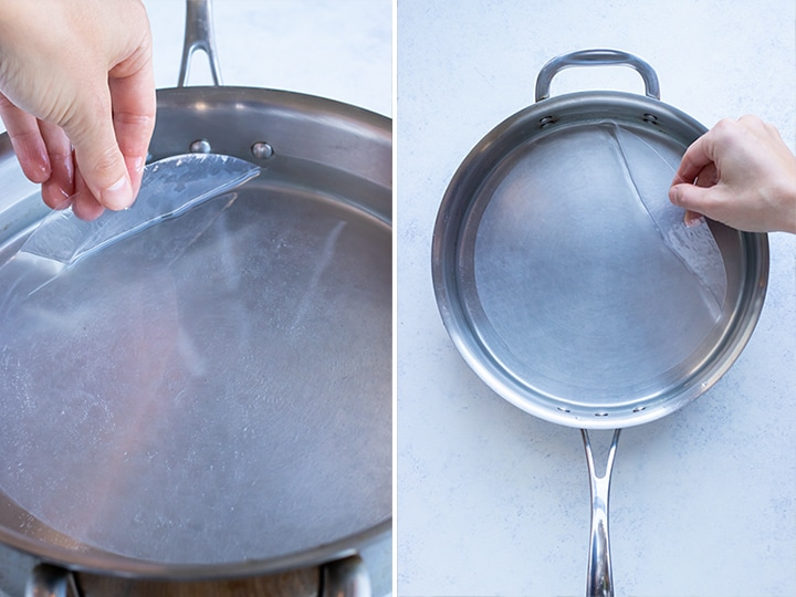 Step by step pictures for how to prepare your rice paper.