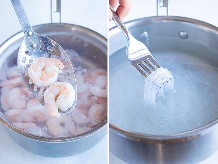 Side by side pictures for how to cook your shrimp and rice noodles.