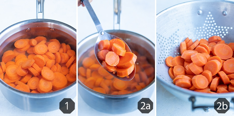 Instructional pictures for how to boil carrots.