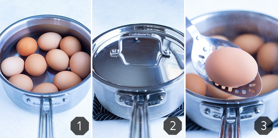 Instructional pictures show how to boil eggs.