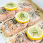 Low-carb lemon and dill seafood dish is baked in the oven.