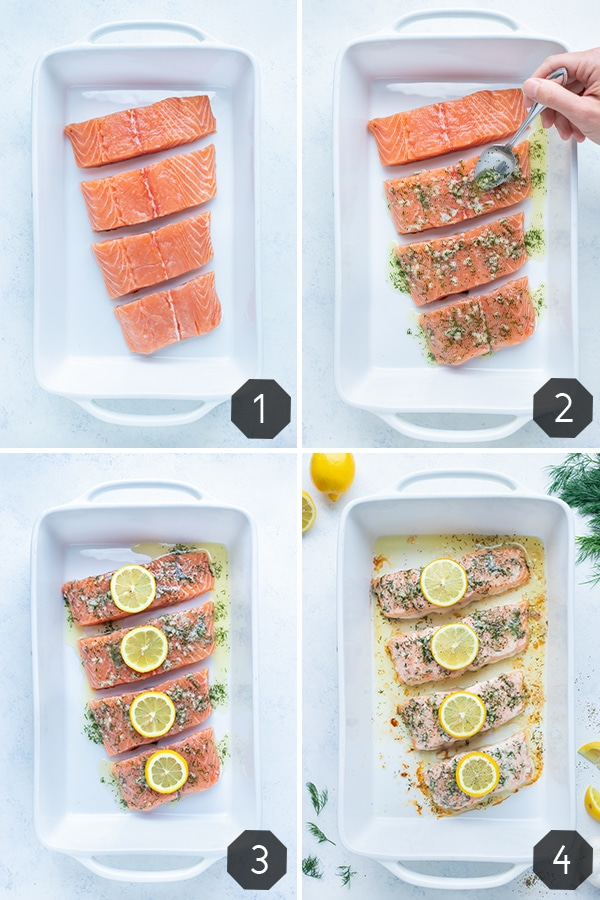 Instructional pictures for how to make this lemon dill salmon recipe.