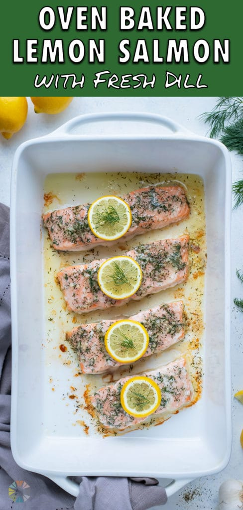 Lemon dill salmon recipe is served for a healthy dinner.