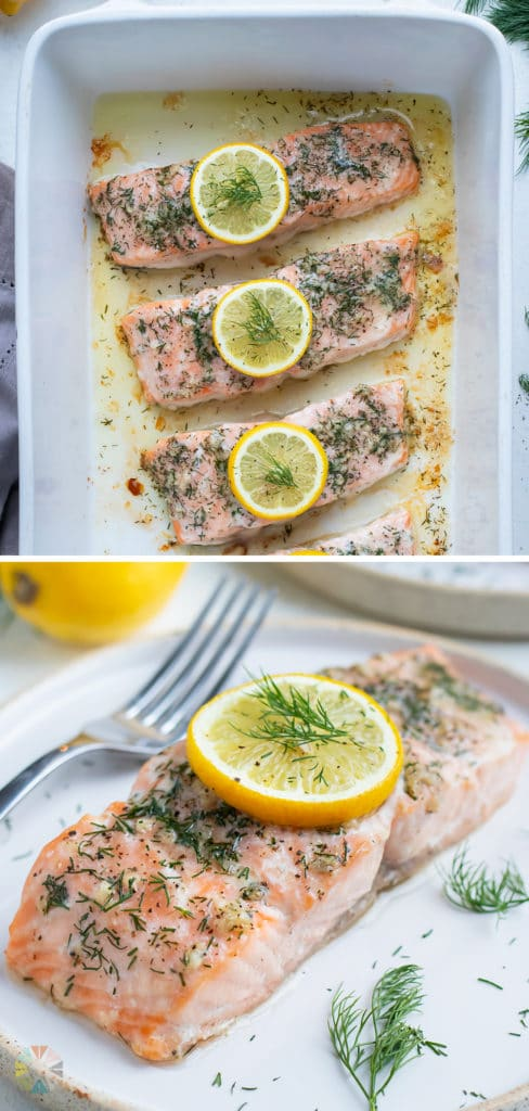Salmon baked with fresh lemon is shown on the counter in a baking dish.