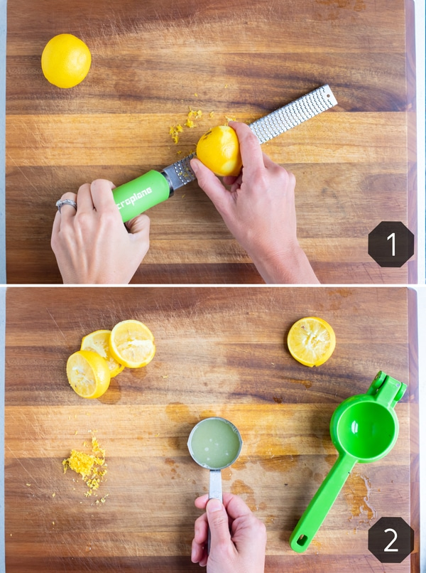 A lemon is zested for this recipe.