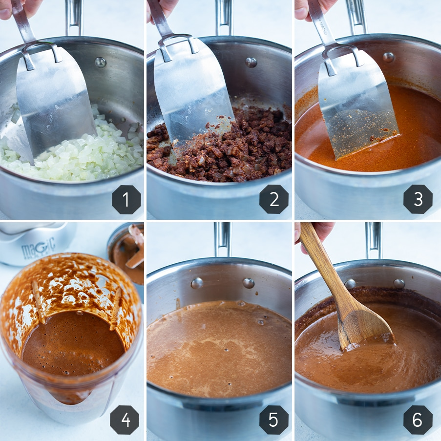 Instructional pictures for how to make homemade mole sauce.