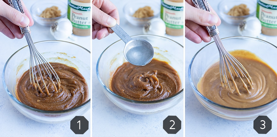 Instructional pictures for how to make peanut sauce.