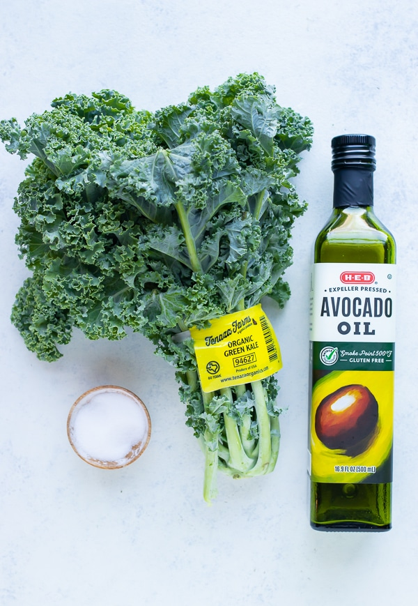 Kale, oil, and salt are the only ingredients needed for this recipe.