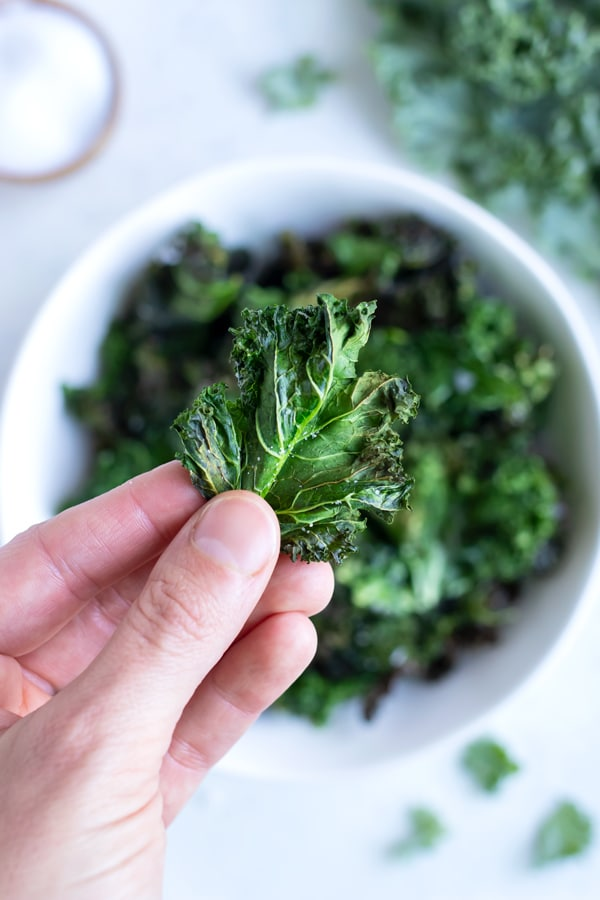 A hand holds up a crunchy kale chip for a healthy snack.