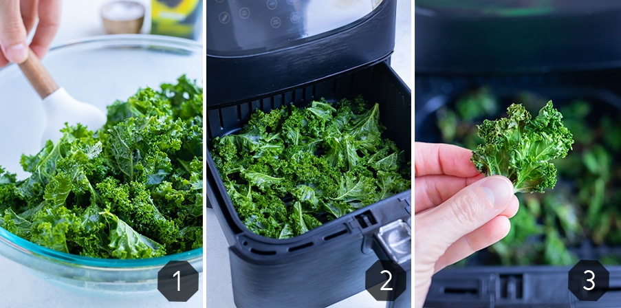 Step by step pictures show how to make crispy kale chips