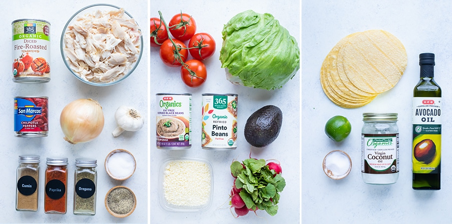 Side by side pictures show the ingredients needed for this Chicken tinga tostada recipe.