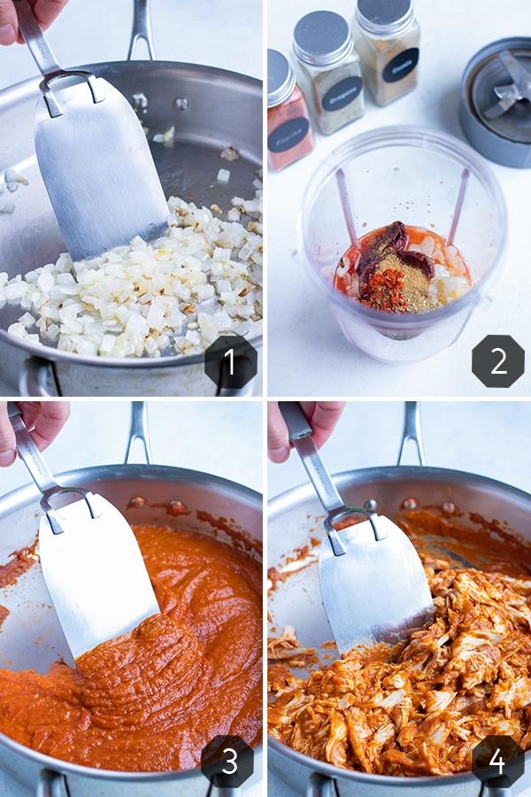 Instructional pictures show how to make chicken tinga with homemade tinga sauce.