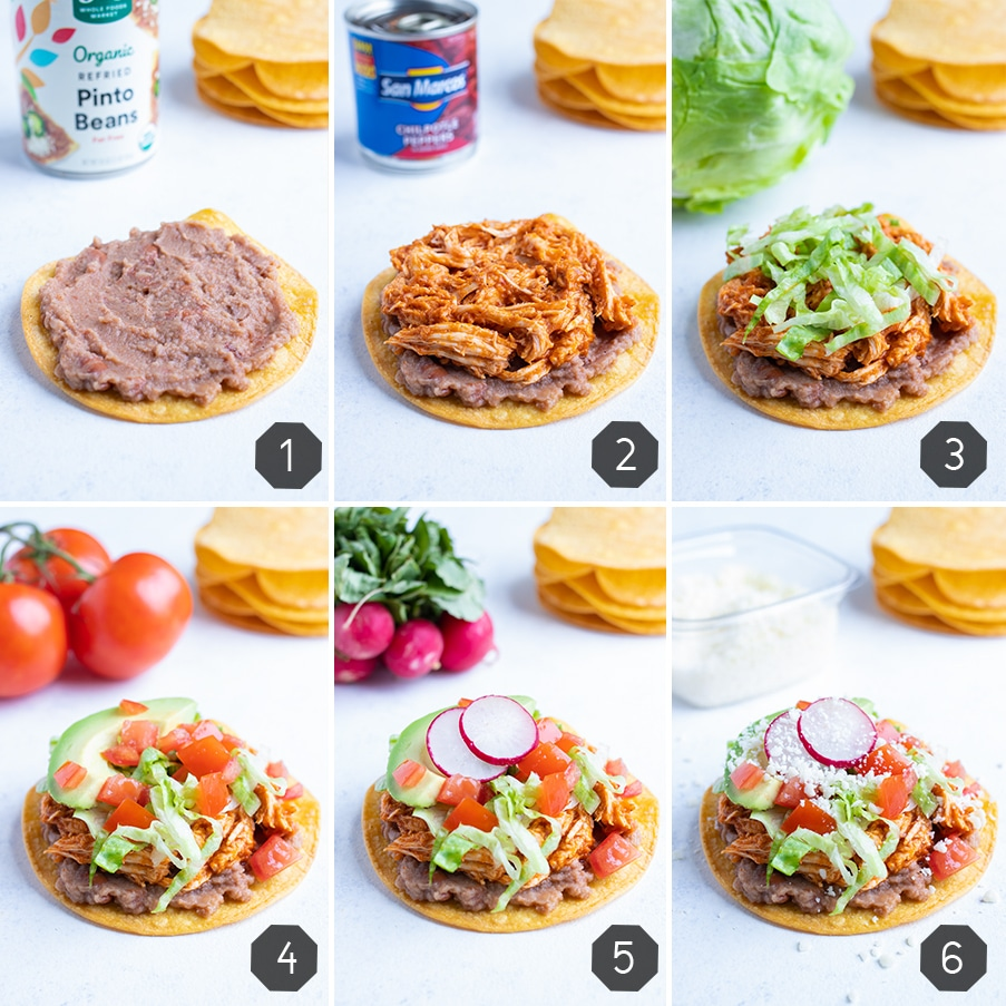 Instructional pictures show how to assemble a chicken tinga tostada.