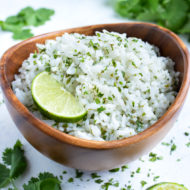 Easy cilantro lime rice is served for a healthy Mexican dish.