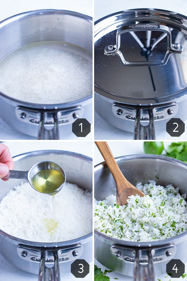 Instructional pictures show how to make Cilantro Lime Rice.