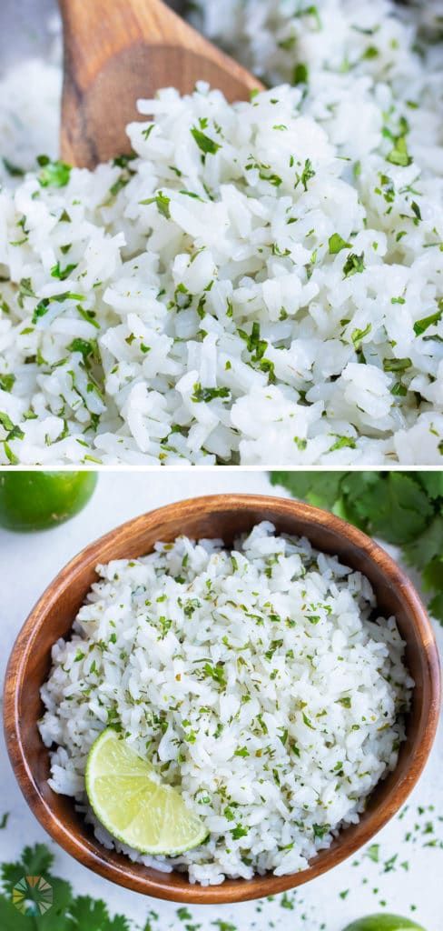 A wooden spoon is used to stir the cilantro lime rice.