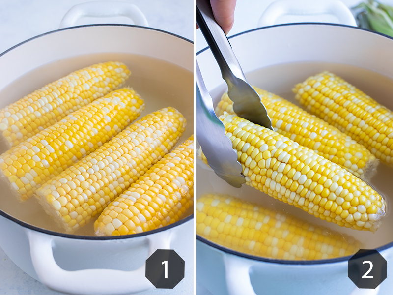 Instructional pictures for how to boil corn.