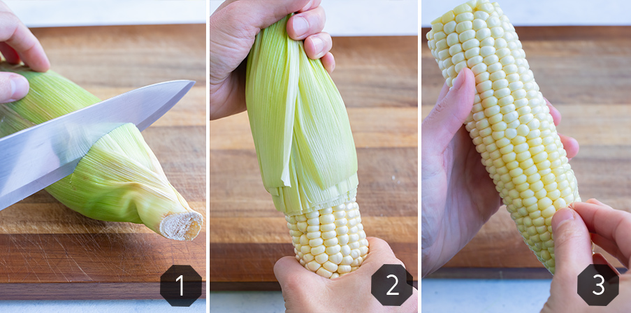 Instructional pictures for how to remove the husk from fresh corn.