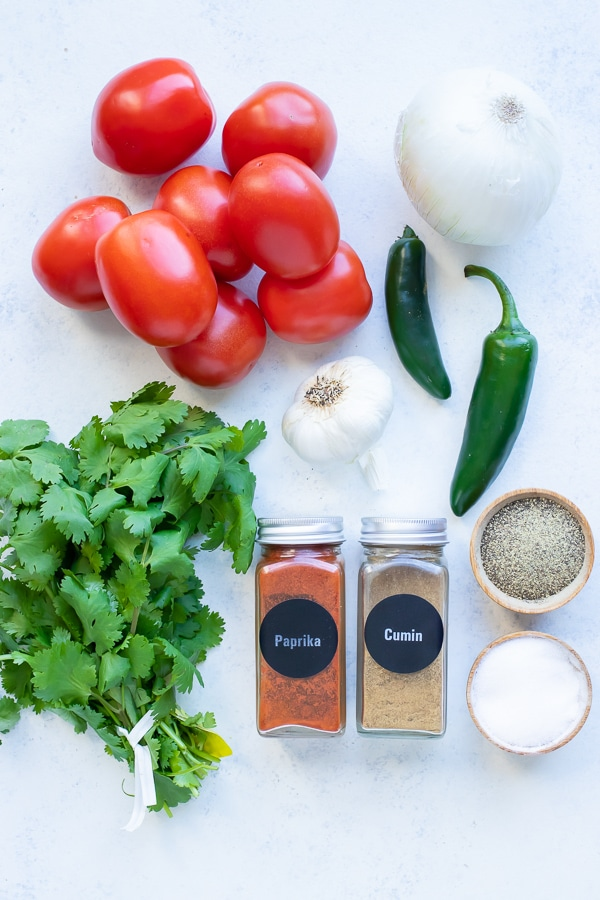 Tomatoes, jalapeño peppers, garlic, cilantro, onion, and seasonings are the ingredients for this recipe.