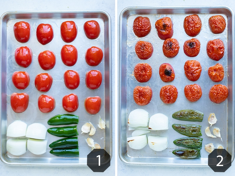 Side by side pictures showing how to roast the tomatoes and other ingredients for this salsa recipe.