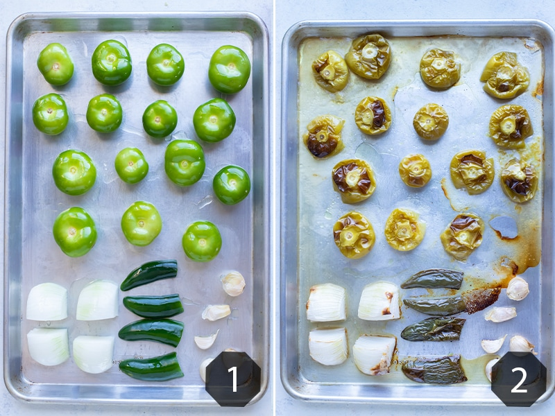 Instructional photos show the ingredients being roasted in the oven.