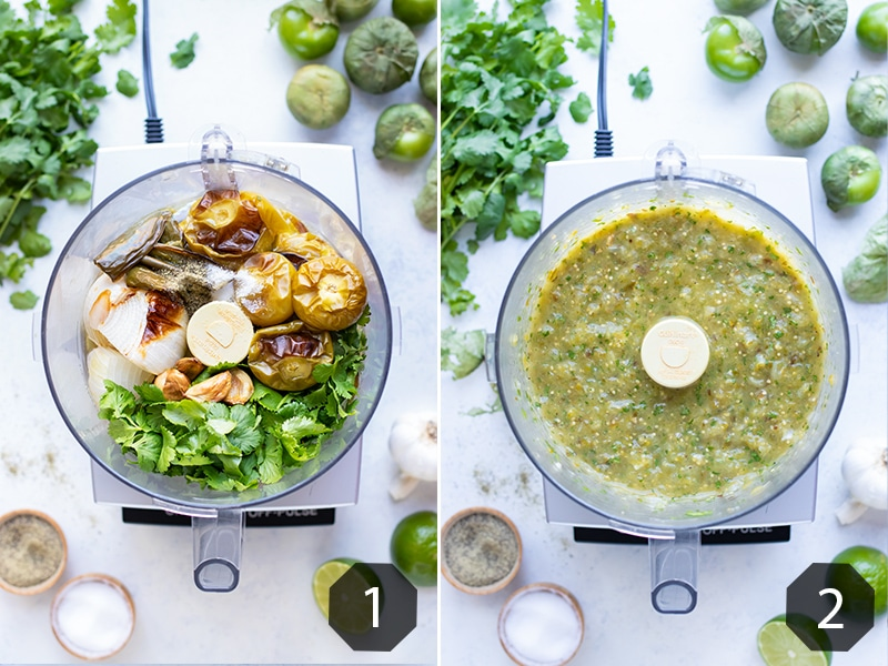 Side by side pictures show how to make this tomatillo salsa verde recipe.