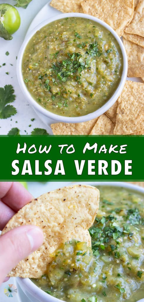 A bowl of healthy salsa verde is served with chips for an appetizer.