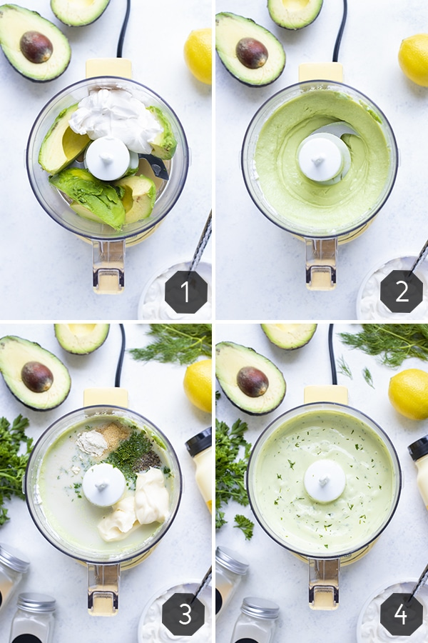 Step by step pictures show how to make avocado ranch dressing.