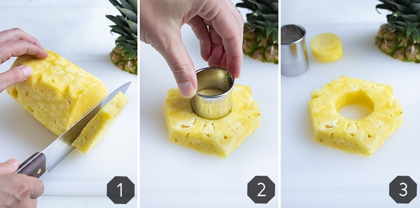 Side by side pictures show how to make pineapple rings.
