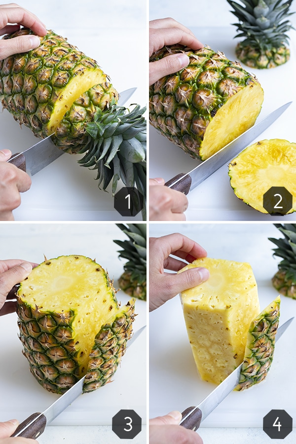 Step by step pictures show how to remove the skin from the pineapple.