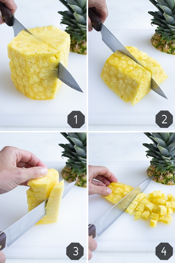Instructional pictures show how to cut a whole pineapple into cubes.