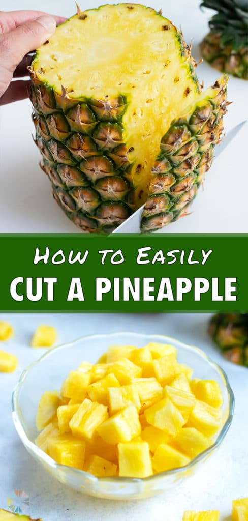 The side skin of the pineapple is cut off.