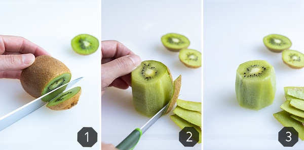 Instructional photos show how to peel kiwi with a paring knife.