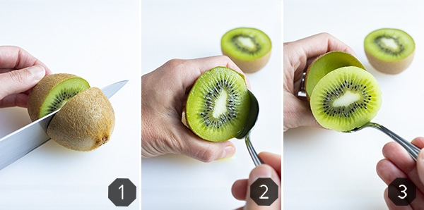Step by step photos show how to peel a kiwi with a spoon.