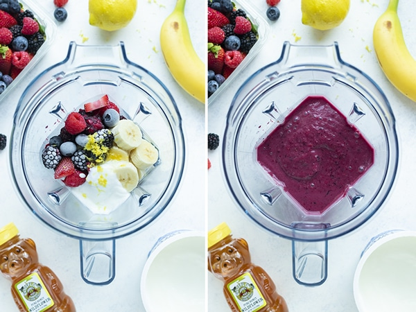 Side by side pictures show how to make a mixed berry smoothie.