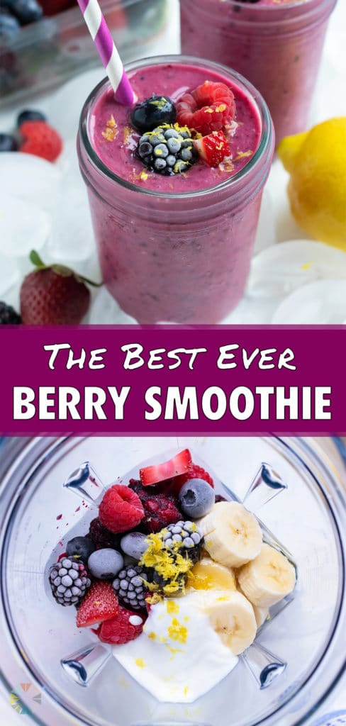 A blender is filled with the berry smoothie ingredients.