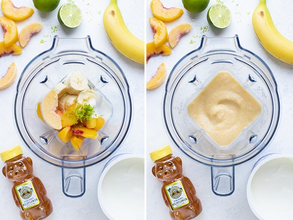 Instructional pictures show how to make this easy peach smoothie.
