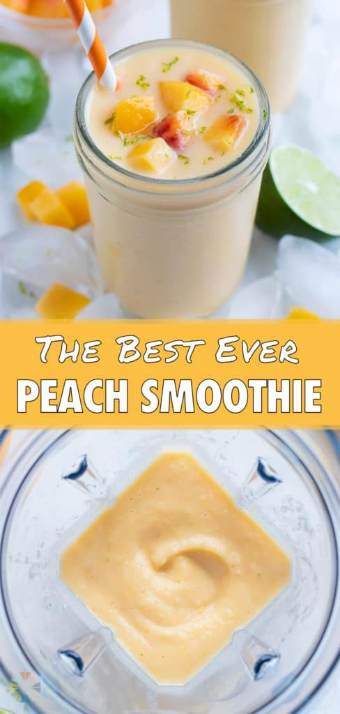 A blender is used to make a creamy peach smoothie.