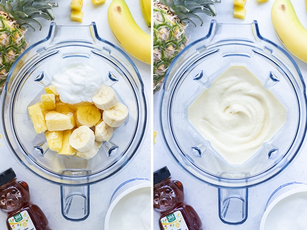 Side by side pictures show how to make a pineapple coconut smoothie.