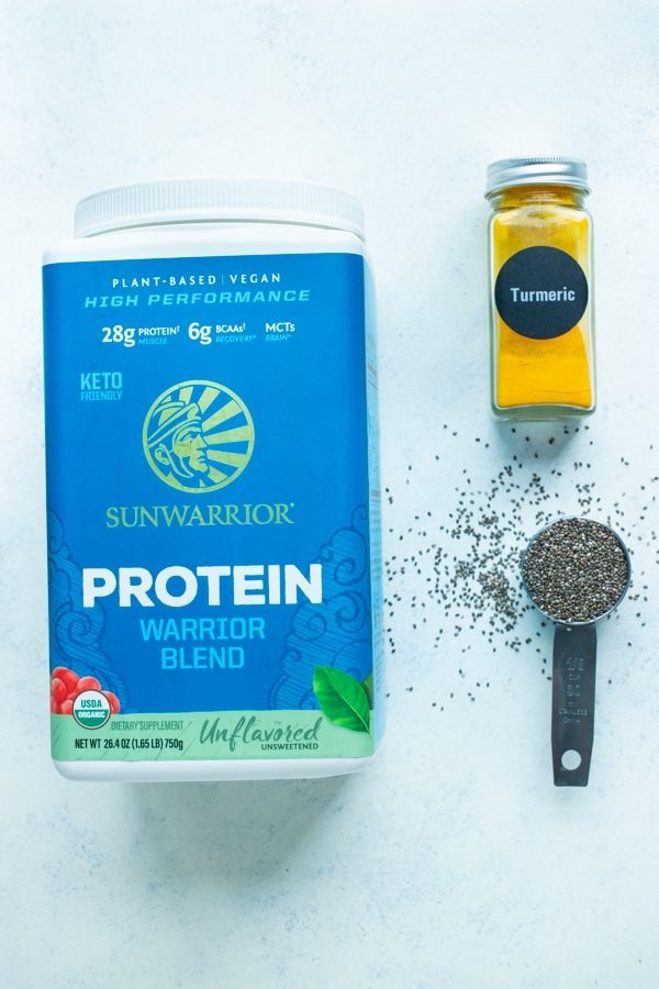 Protein powder, chia seeds, and turmeric are ingredients that can be added.
