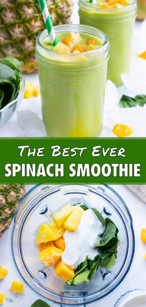 Tropical green smoothie ingredients are added to a high speed blender.