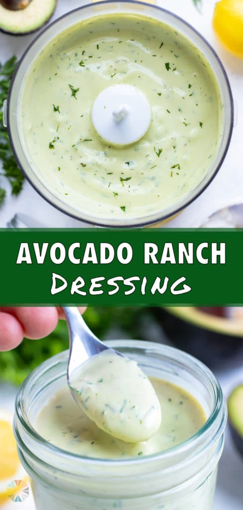 Easy avocado dressing is made in a food processor.