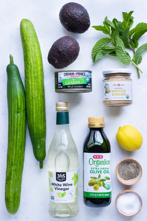 Avocado, mint, lemon, cucumber, and lump crab meat are the main ingredients in this recipe.