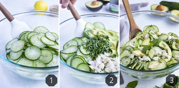 Step by step photos show how to make cucumber crab avocado salad.