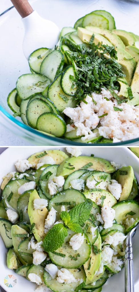 Cucumber crab salad is served for a low-carb, paleo salad.