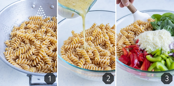 Step by step pictures show how to make Italian dressing pasta salad.
