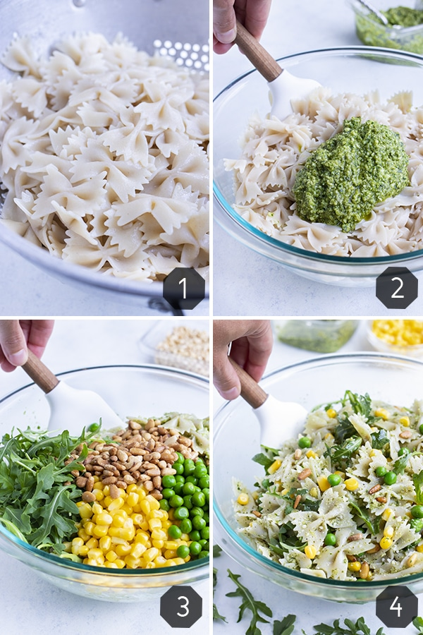 Instructional pictures show how to make pesto pasta salad.