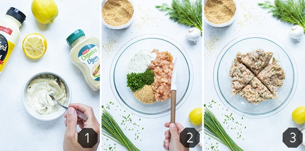 Instructional pictures show how to make homemade salmon burgers.